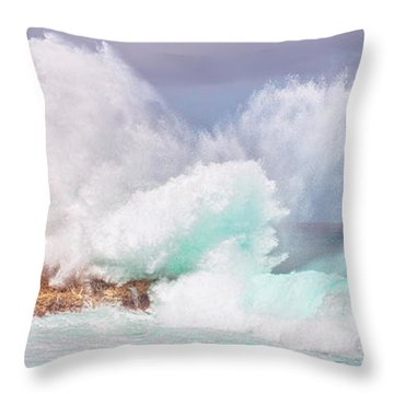 Throw Pillow featuring the photograph Kukuihoolua Island Exploding Wave From Laie Point by Aloha Art
