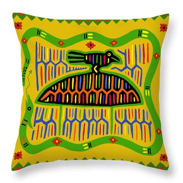 Kuna Bird With Snake Throw Pillow