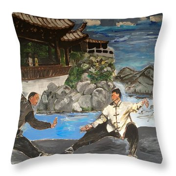 Throw Pillow featuring the painting Kungfu Fighting The Taichi Way by Belinda Low