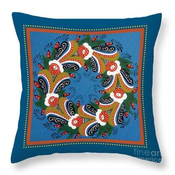 Kurbits Wreath Blue Throw Pillow by Leif Sodergren