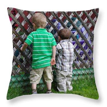 Throw Pillow featuring the photograph Kurious Kids by Greg Graham