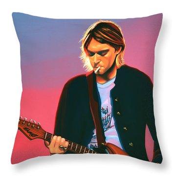 Kurt Cobain In Nirvana Painting Throw Pillow