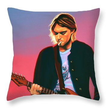 Kurt Cobain In Nirvana Painting Throw Pillow by Paul Meijering