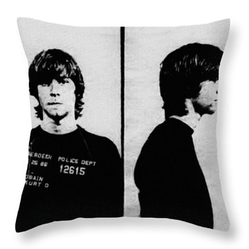 Kurt Cobain Mugshot Throw Pillow by Bill Cannon