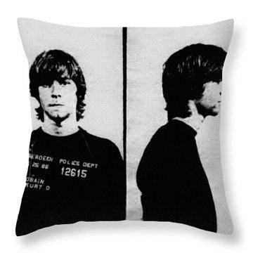 Kurt Cobain Mugshot Throw Pillow