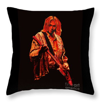 Kurt Cobain Painting Throw Pillow by Paul Meijering