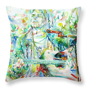 Kurt Cobain Playing The Guitar - Watercolor Portrait Throw Pillow