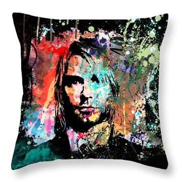 Kurt Cobain Portrait Throw Pillow