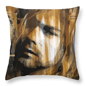 Kurt Cobain Tormented  Throw Pillow by Brad Jensen