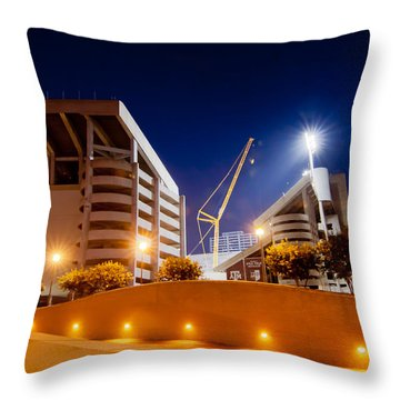 Kyle Field At Night Throw Pillow by Linda Unger