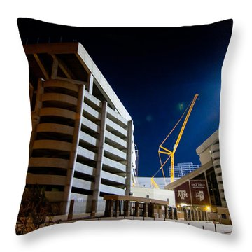 Kyle Field Construction Throw Pillow by Linda Unger
