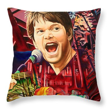 Throw Pillow featuring the painting Kyle Hollingsworth At Hornin'gs Hideout by Joshua Morton
