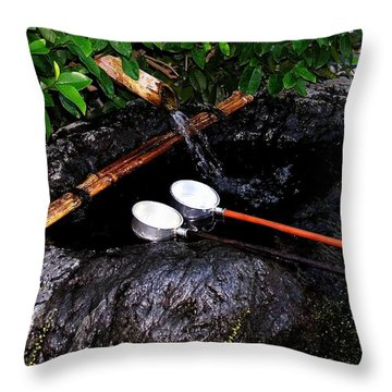 Throw Pillow featuring the photograph Kyoto Water Vessels by Jacqueline M Lewis