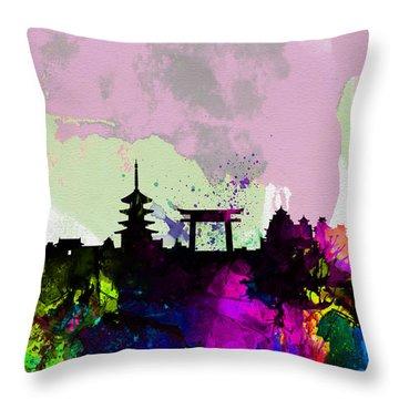 Kyoto Watercolor Skyline Throw Pillow