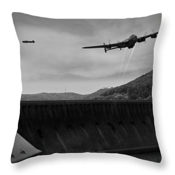 L For Leather Over The Eder Dam Black And White Version Throw Pillow