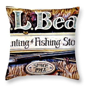 L. L. Bean Hunting And Fishing Store Since 1912 Throw Pillow by Tara Potts