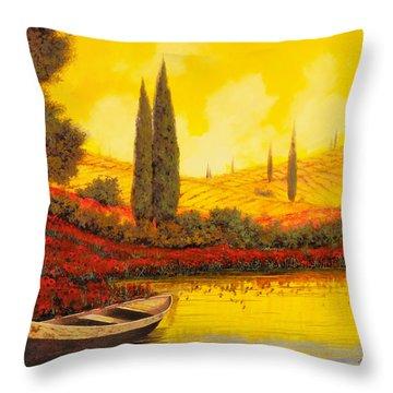 La Barca Al Tramonto Throw Pillow by Guido Borelli