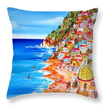 La Bella Positano Amalfi Coast Throw Pillow