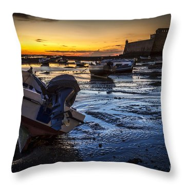 La Caleta Beach Cadiz Spain Throw Pillow
