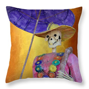 Throw Pillow featuring the photograph La Catrina With Purple Umbrella by Christine Till