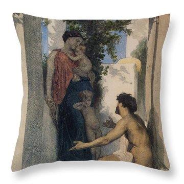 La Charite Romaine Throw Pillow by William Bouguereau