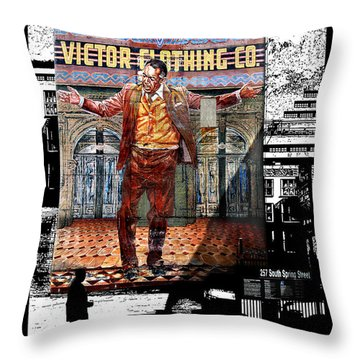 Throw Pillow featuring the digital art La City Beat Digitized by Jennie Breeze