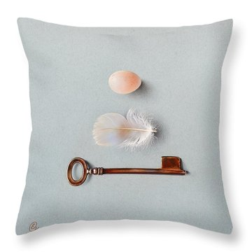 Throw Pillow featuring the drawing La Clef Des Champs by Elena Kolotusha