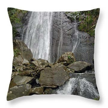 La Coca Falls El Yunque National Rainforest Puerto Rico Prints Throw Pillow by Shawn O'Brien