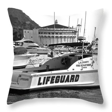 L A County Lifeguard Boat B W Throw Pillow