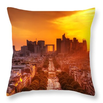 La Defense And Champs Elysees At Sunset Throw Pillow by Michal Bednarek
