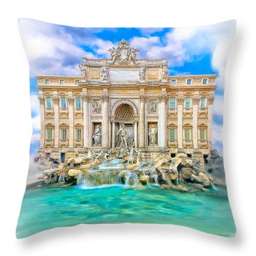 La Dolce Vita - The Trevi Fountain In Rome Throw Pillow by Mark E Tisdale