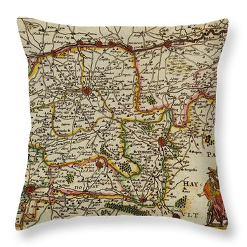 La Fandre Gallicane Vintage Map Throw Pillow by Inspired Nature Photography Fine Art Photography