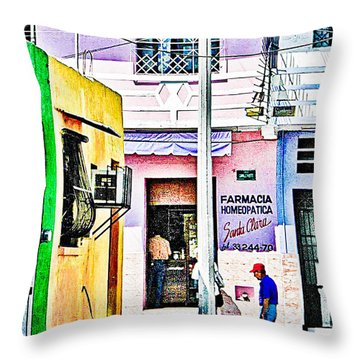 Throw Pillow featuring the photograph La Farmacia by Jim Thompson