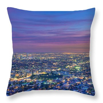 La Fiery Sunset Cityscape Skyline Throw Pillow by David Zanzinger