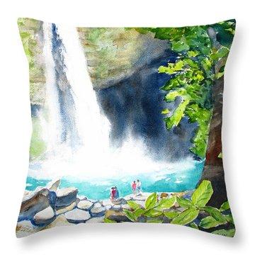 La Fortuna Waterfall Throw Pillow by Carlin Blahnik