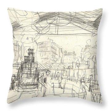 La Gare Saint Lazare Throw Pillow