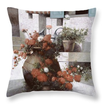 La Giara E I Fiori Rossi Throw Pillow by Guido Borelli