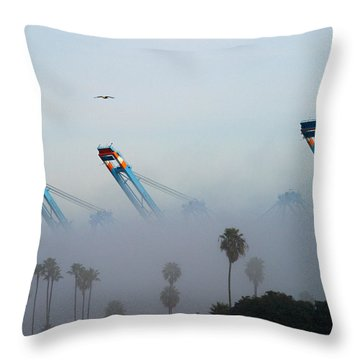 La Harbor Never Sleeps Throw Pillow