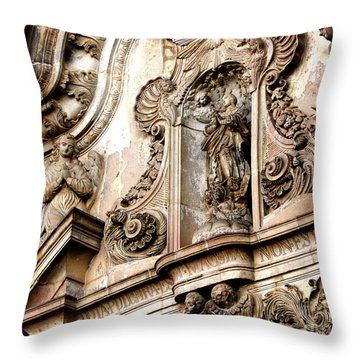 Throw Pillow featuring the photograph La Iglesia De La Compania  Quito Ecuador by Eleanor Abramson