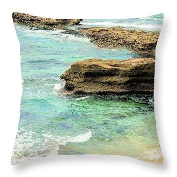 La Jolla Beach Rocks Throw Pillow