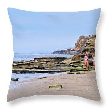 La Jolla Beach Walk Throw Pillow