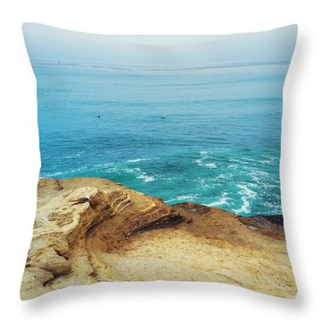 La Jolla Coast Seagull Nest Throw Pillow by Tanya Harrison