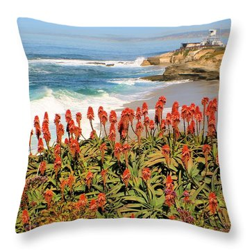 La Jolla Coast With Flowers Blooming Throw Pillow