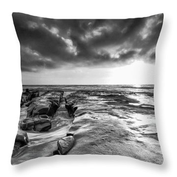 La Jolla In Black And White Throw Pillow