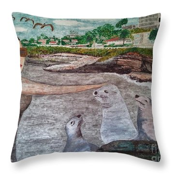 Throw Pillow featuring the painting La Jolla  San Diego by Jasna Gopic