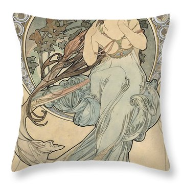 La Musique, 1898 Watercolour On Card Throw Pillow
