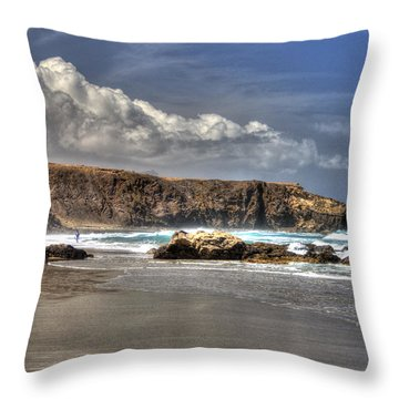 Throw Pillow featuring the photograph La Pared Cliff And Rocky Beach On Fuertaventura Island by Julis Simo