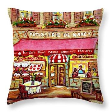 La Patisserie De Nancy French Pastry Boulangerie Paris Style Sidewalk Cafe Paintings Cityscene Art C Throw Pillow