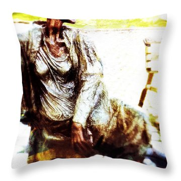 Throw Pillow featuring the photograph La Penseuse by Selke Boris