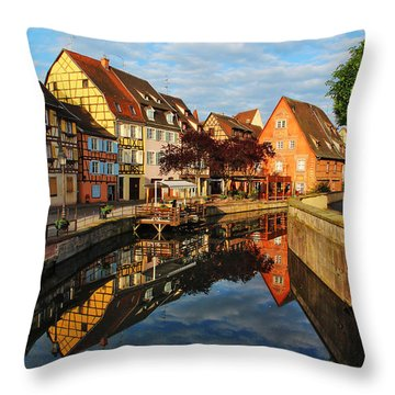 La Petite Venice Reflections In Colmar France Throw Pillow by Greg Matchick
